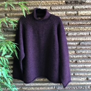 J Crew Plum Heather Mock Turtle Wool Sweater